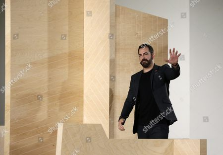 Creative Director Michael Maccari Acknowledges the Audience at the End of the Perry Ellis Presentation During the Fall/winter 2016 New York Men's Fashion Week in New York New York Usa 03 February 2016 the Fall/winter 2016 Collections Are Presented From 01 to 04 February United States New York
