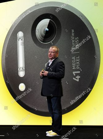 Stephen Elop the Chief Executive Officer of Nokia Corporation Introduces the Company's New Nokia Lumia 1020 Smartphone with a 41 Megapixel Camera During a Press Conference in New York New York Usa 11 July 2013 the New Phone is Built Around Highly Advanced Camera United States New York
