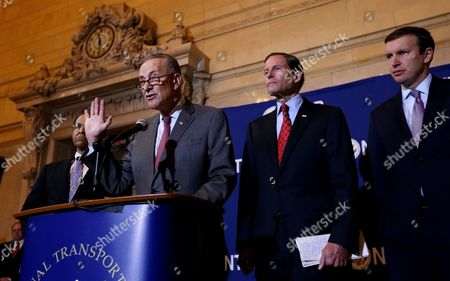 Us Senator Charles E Schumer (2-l) Speaks About a Report on the Probable Causes of Five Accident Investigations Involving Metro North Railroad During a Press Conference with Christopher Hart (l) Acting Chairman of the National Transportation Safety Board Us Senators Richard Blumenthal (2-r)(connecticut) and Christopher Murphy (r) (connecticut) at Grand Central Station in New York New York Usa 28 October 2014 the Accidents Discussed in the Report Occurred Over a 10-month Period Between May 2013 and March 2014 and Killed an Injured a Number of People United States New York