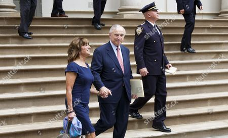 Outgoing New York City Police Commissioner Bill Bratton (c) Walks with His Wife Rikki Klieman (l) Following a Press Conference at City Hall where He Annoyed His Retirement and His Replacement Chief of Department Jimmy O'neill (r) in New York New York Usa on 02 August 2016 Bratton who Took the Post in 2013 Will Step Down in September United States New York