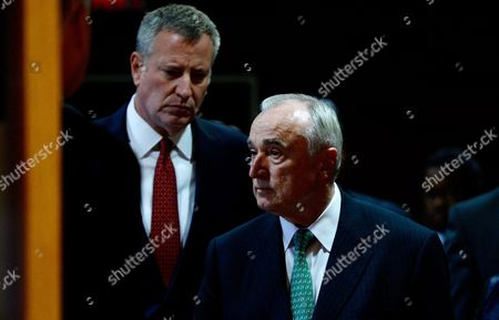 New York City Police Commissioner William J Bratton (r) and New York City Mayor Bill De Blasio (l) Arrive For a Press Conference About Last Night's Shooting Death of New York City Police Officer Randolph Holder in New York New York Usa on 21 October 2015 Holder was Shot in the Harlem Neighborhood of New York on Tuesday Night and Suspect in the Case Tyrone Howard Has Been Arrested United States New York