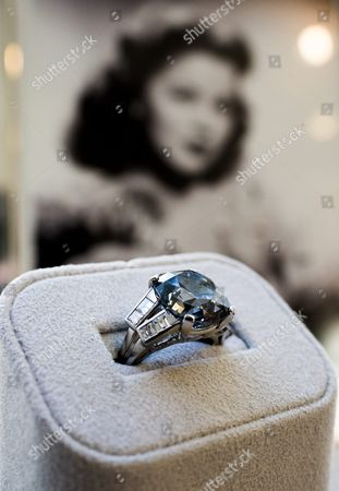 Stock Image of A View of a 9 54-carat Fancy Deep Blue Diamond Ring Once Owned and Worn by American Icon Shirley Temple During an Auction Preview at Sotheby's Auction House in New York New York Usa on 18 March 2016 the Diamond was Purchased For Temple by Her Father in 1940 For $7 210 (usd) - the Estimated Auction Price is $25 - $25 Million (usd) United States New York