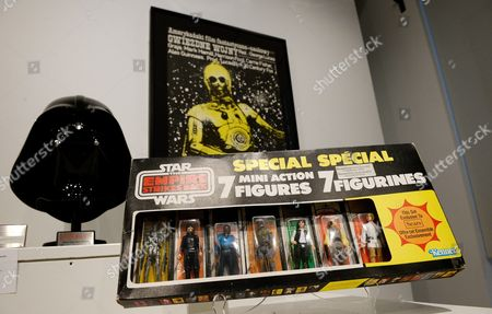 A View of a Display of Star Wars Memorabilia Including a 7-pack of Action Figures From 1980 Estimated to Sell For 8 000 - 12 000 Us Dollars During a Preview of an Auction of Items Associated with the Star Wars Films at Sotheby's in New York New York Usa on 02 December 2015 the Auction Which is Being Held Online on 11 December Features a Number of Rare and Valuable Star Wars Collectables Which Are All From the Collection of the Japanese Designer Nigo United States New York