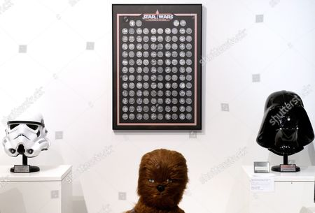 Stock Picture of A View of a Star Wars Coin Collection From 1985 Estimated to Sell For 25 000 - 135 000 Us Dollars During a Preview of an Auction of Items Associated with the Star Wars Films at Sotheby's in New York New York Usa 02 December 2015 the Auction Which is Being Held Online on 11 December Features a Number of Rare and Valuable Star Wars Collectables Which Are All From the Collection of the Japanese Designer Nigo United States New York
