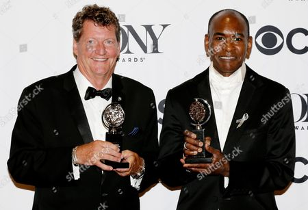 Lighting Designer Howell Binkley (l) and Costume Designer Paul Tazewell (r) Pose with Their Respective Tony Awards For 'Best Lighting Design of a Musical' and 'Best Costume Design of a Musical' For 'Hamilton' in New York New York Usa 12 June 2016 the Annual Awards Honor Excellence in Broadway Theatre United States New York