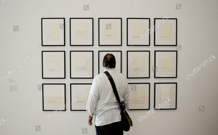 A Man Looks at 15 Works on Paper Called '9 Concert Pieces For John Cage' During the Press Preview of the Exhibit 'Yoko Ono: One Woman Show 1960 - 1971' at the Museum of Modern Art in New York New York Usa 12 May 2015 the Show Which Runs From 17 May to 07 September Features Approximately 125 of Yoko Ono's Early Objects Works on Paper Performances Recordings and Films United States New York