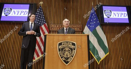 New York City Police Commissioner William J Bratton (r) Speaks to Media After Addressing the Nypd Shield Security Conference As Fbi Director James Comey (l) Looks on at Police Headquarters in New York New York Usa 16 December 2015 Shield is an Umbrella Program For a Series of Police Initiatives Relating to Private Sector Security and Counterterrorism United States New York