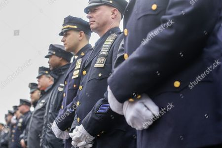 Police Officers Gather Outside the Greater Allen a M E Cathedral and Conference Center For the Funeral of New York Police Department Officer Randolph Holder in the Jamaica Neighborhood of Queens New York Usa 28 October 2015 Holder 33 a Native of Guyana was Shot and Killed While Chasing a Suspect in the East Harlem Area of Manhattan United States Queens