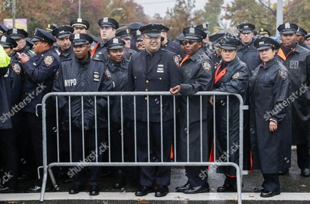 Stock Image of Police Officers Gather Outside the Greater Allen a M E Cathedral and Conference Center For the Funeral of New York Police Department Officer Randolph Holder in the Jamaica Neighborhood of Queens New York Usa 28 October 2015 Holder 33 a Native of Guyana was Shot and Killed While Chasing a Suspect in the East Harlem Area of Manhattan United States Queens