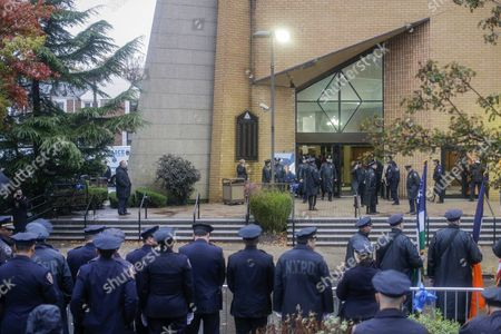 Police Officers Pay Their Respect Outside the Greater Allen a M E Cathedral and Conference Center During the Funeral of New York Police Department Officer Randolph Holder in the Jamaica Neighborhood of Queens New York Usa 28 October 2015 Holder 33 a Native of Guyana was Shot and Killed While Chasing a Suspect in the East Harlem Area of Manhattan United States Queens