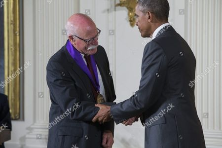Us President Barack Obama (r) Presents a 2014 National Medal of Arts to Tobias Wolff (l) For His Contributions As an Author and Educator in the East Room of the White House in Washington Dc Usa 10 September 2015 Obama Awarded 21 Arts and Humanities Medals During the Event United States Washington