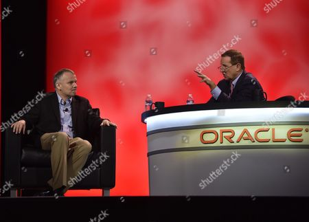 Stock Picture of Mark Hurd Oracle Ceo (r) Talks with Jim Fowler Chief Information Officer of General Electric (l) During His Keynote at the Oracle Openworld Conference in the Mascone Convention Center in San Francisco California Usa 26 October 2015 United States San Francisco