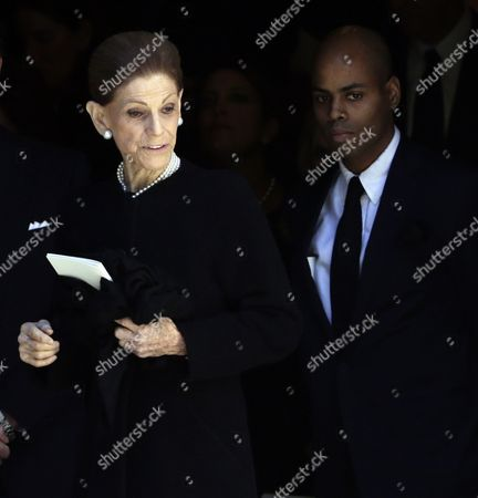 Widow Annette De La Renta (c) and Her Son Moises (r) Depart Her Late Husband Dominican-born Us Designer Oscar De La Renta's Memorial Service at the Church of St Ignatius of Loyola in New York New York Usa 03 November 2014 Oscar De La Renta Died on 20 October at the Age of 82 at His Home in Connecticut United States New York