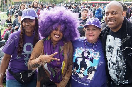 Prince Fans Pose For a Photo in Grand Park where Thousands of Fans Gathered to Celebrate the Life of the Late Us Entertainment Legend Prince in Los Angeles California Usa 06 May 2016 Prince Whose Full Name was Prince Rogers Nelson Died at the Age of 57 at His Home in Paisley Park Minnesota on 21 April 2016 United States Los Angeles