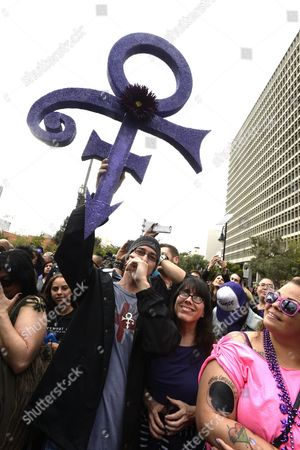 David Gold Holds Up a Prince Symbol in Grand Park where Thousands of Fans Gathered to Celebrate the Life of the Late Us Entertainment Legend Prince in Los Angeles California Usa 06 May 2016 Prince Whose Full Name was Prince Rogers Nelson Died at the Age of 57 at His Home in Paisley Park Minnesota on 21 April 2016 United States Los Angeles