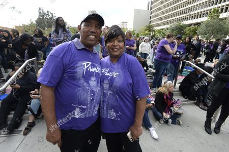 Vanessa Crawford (r) and Bruce Alston (l) Wearing Prince Shirts Pose For a Photo in Grand Park where Thousands of Fans Gathered to Celebrate the Life of the Late Us Entertainment Legend Prince in Los Angeles California Usa 06 May 2016 Prince Whose Full Name was Prince Rogers Nelson Died at the Age of 57 at His Home in Paisley Park Minnesota on 21 April 2016 United States Los Angeles