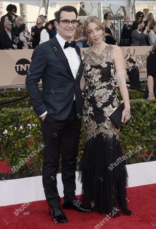 Stock Picture of Actor Ty Burrell (l) and Wife Holly Anne Brown (r) Arrive For the 22nd Annual Screen Actors Guild Awards Ceremony at the Shrine Auditorium in Los Angeles California Usa 30 January 2016 United States Los Angeles