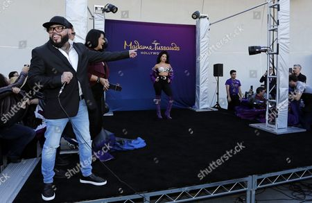 Stock Image of Us Singer a B Quintanilla (l) Brother of the Late Us Singer Selena Quintanilla and His Sister Suzette Quintanilla (2-l) Help Unveil the Wax Figure of Selena at Madam Tussaud's in Hollywood California Usa 30 August 2016 Selena Quintanilla was One of the Most Celebrted Mexican-american Entertainers of All Times and was Referred to As the 'Queen of Tejano Music' Selena was Murdered by a Woman She Employed in Her Boutique in 1995 United States Hollywood