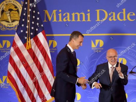 Spanish King Felipe Vi (l) Speaks with Dr Eduardo Padron Mdc President During the Inaugural Master Lecture For the 2015-16 Academic Year at the Freedom Tower at Miami Dade College in Miami Florida Usa 17 September 2015 Nearly 1 000 People Attended the Conference Including Hundreds of Mdc Students and Faculty As Well As South Florida Community and Business Leaders the King is Joined by Her Majesty the Queen Letizia United States Miami