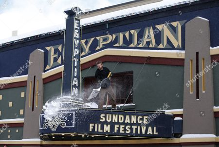 Peter Mayhew Shovels Snow Off the Marquee of the Egyptian Theater on Old Main Street As Preparations Are Underway For the 2016 Sundance Film Festival in Park City Utah Usa 20 January 2016 the Festival Runs From 21 to 31 January United States Park City