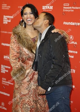 Us Actress Amy Argyle (l) is Kissed by Us Actor Carlos Moreno Jr (r) As They Arrive For the Premiere of 'Frank & Lola' at the 2016 Sundance Film Festival in Park City Utah Usa 27 January 2016 the Festival Runs From 21 to 31 January United States Park City