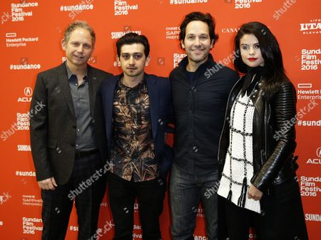 (l-r) Us Writer/director Rob Burnett Welch Actor Craig Roberts Us Actor Paul Rudd and Us Actress Selena Gomez Arrive For the Premiere of 'The Fundamentals of Caring' at the 2016 Sundance Film Festival in Park City Utah Usa 29 January 2016 the Festival Takes Place From 21 to 31 January United States Park City