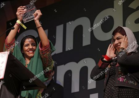 Rokhsareh Ghaem Maghami (l) and Sonita Alizadeh (r) Win the Audience Award: World Cinema Documentary For the Film 'Sonita' at the 2016 Sundance Film Festival Awards Ceremony in Park City Utah Usa 30 January 2016 the Festival Runs From 21 to 31 January 2016 United States Park City