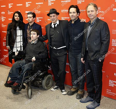 (l-r) Us Actress Selena Gomez British Actor Craig Roberts Case Leveson Us Actor Paul Rudd and Writer/director Rob Burnett Arrive For the Premiere of 'The Fundamentals of Caring' at the 2016 Sundance Film Festival in Park City Utah Usa 29 January 2016 the Festival Takes Place From 21 to 31 January United States Park City
