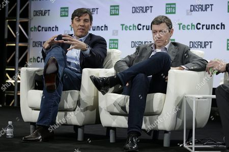 Stock Photo of Tim Armstrong (l) Ceo and Chairman of Aol Inc and Fred Wilson (r) Partner at Union Square Ventures Speak on Stage at Techcrunch Disrupt 2016 New York in Brooklyn New York New York Usa 10 May 2016 United States Brooklyn