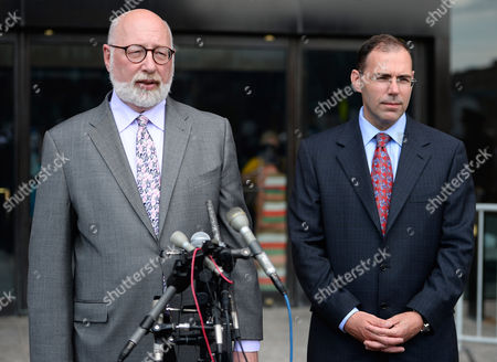 Stock Photo of Defense Attorneys Jw Carney (l) and Hank Brennan (r) Address the News Media Outside the John Joseph Moakley Federal Courthouse After James 'Whitey' Bulger was Found Guilty in His Racketeering Trial in Boston Massachusetts Usa 12 August 2013 United States Boston