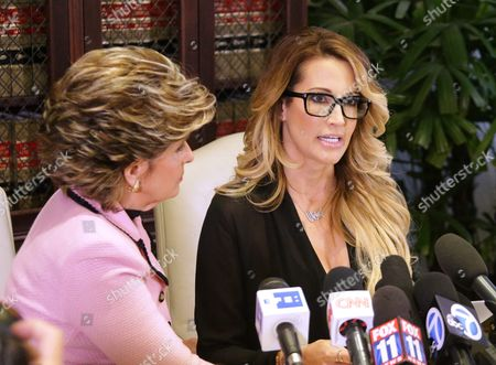 Jessica Drake (r) an Adult Film Performer Reads a Statement in Which She Alleges Republican Presidential Candidate Donald Trump Sexually Harassed Her at a 2006 Golf Event in Lake Tahoe at a Press Conference Held by Attorney Gloria Allred (l) in Los Angeles California Usa 22 October 2016 a Number of Women Have Come Forth Accusing Republican Presidential Candidate Donald Trump of Sexual Misconduct Trump Has Said He Will Sue All His Accusers After the Election Epa/mike Nelson United States Los Angeles