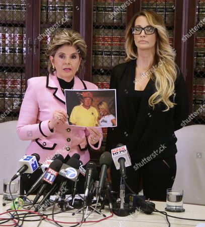 Jessica Drake (r) an Adult Film Performer Stands with Attorney Gloria Allred (l) As She Holds a Picture of Drake and Us Presidential Candidate Donald Trump That was Allegedly Taken at a Golf Course in Lake Tahoe in 2006 at a Press Conference Held by Attorney Gloria Allred in Los Angeles California Usa 22 October 2016 During Which She Accused Republican Presidential Candidate Donald Trump of Allegedly Sexually Harassing Her at a 2006 Golf Event in Lake Tahoe a Number of Women Have Come Forth Accusing Republican Presidential Candidate Donald Trump of Sexual Misconduct Trump Has Said He Will Sue All His Accusers After the Election United States Los Angeles