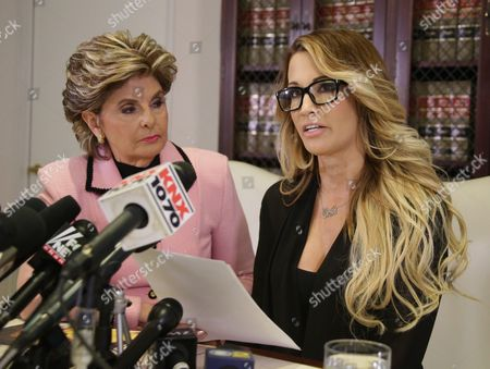 Jessica Drake (r) an Adult Film Performer Reads a Statement in Which She Alleges Republican Presidential Candidate Donald Trump Sexually Harassed Her at a 2006 Golf Event in Lake Tahoe at a Press Conference Held by Attorney Gloria Allred (l) in Los Angeles California Usa 22 October 2016 a Number of Women Have Come Forth Accusing Republican Presidential Candidate Donald Trump of Sexual Misconduct Trump Has Said He Will Sue All His Accusers After the Election United States Los Angeles