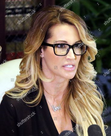 Jessica Drake an Adult Film Performer Listens to Reporters Questions Following a Press Statement in Which She Accused Republican Presidential Candidate Donald Trump of Allegedly Sexually Harassing Her at a 2006 Golf Event in Lake Tahoe at a Press Conference Held by Attorney Gloria Allred in Los Angeles California Usa 22 October 2016 a Number of Women Have Come Forth Accusing Republican Presidential Candidate Donald Trump of Sexual Misconduct Trump Has Said He Will Sue All His Accusers After the Election United States Los Angeles