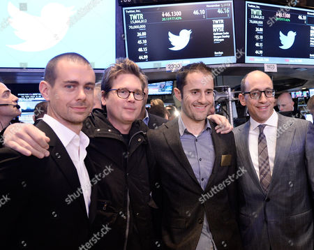Jack Dorsey Chairman and Co-founder of Twitter Inc (l) Poses with Co-founders Christopher Isaac 'Biz' Stone (2-l) Evan Williams (2-r) Twitter Ceo Richard Costolo After Twitter Stock Opened For Trading at the New York Stock Exchange in New York New York Usa 07 November 2013 Shares in Twitter Were Trading at Over 50 Dollars - an Increase of More Than 90 Per Cent From Its Offer Price - Minutes After the Start of Public Trading on 07 November the Shares Opened at 45 10 Dollars the Soaring Debut on the New York Stock Exchange Came Just Hours After Twitter Said It was Pricing Its Initial Public Offering (ipo) at 26 Dollars a Share the Third Time It Raised the Price Since Filing to Go Public United States New York