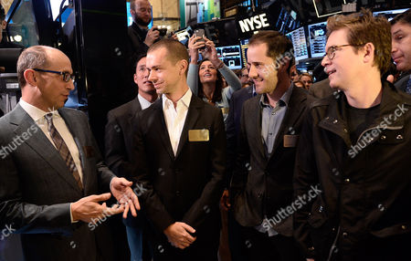 Richard 'Dick' Costolo Chief Executive Officer of Twitter Inc (l) Talks with Jack Dorsey Chairman and Co-founder (2-l) and Christopher Isaac 'Biz' Stone Co-founder of Twitter (r) at the New York Stock Exchange in New York New York Usa 07 November 2013 Shares in the Company Twitter (twtr) Began Trading on the Nyse at a Price of 26 Us Dollars (19 23 Euro) the Man (2-r) is Unidentified United States New York