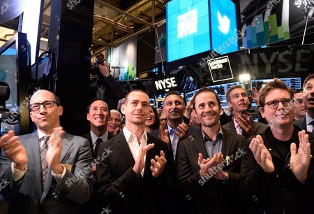 Twitter Ceo Richard Costolo Chariman and Co-founder Jack Dorsey (3-l) Cfo Mike Gupta (4-l) and Co-founders Evan Willaims (2-r) and Christopher Isaac 'Biz' Stone (r) Applaud As Trading Starts at the New York Stock Exchange in New York New York Usa 07 November 2013 Shares in Twitter Were Trading at Over 50 Dollars - an Increase of More Than 90 Per Cent From Its Offer Price - Minutes After the Start of Public Trading on 07 November the Shares Opened at 45 10 Dollars the Soaring Debut on the New York Stock Exchange Came Just Hours After Twitter Said It was Pricing Its Initial Public Offering (ipo) at 26 Dollars a Share the Third Time It Raised the Price Since Filing to Go Public United States New York