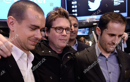 Twitter Chairman and Co-founder Jack Dorsey (l) Poses with Co-founders Christopher Isaac 'Biz' Stone (l) and Evan Williams (r) on the Trading Floor After Stock in Twitter Inc Began Trading at the New York Stock Exchange in New York New York Usa 07 November 2013 Shares in Twitter Were Trading at Over 50 Dollars - an Increase of More Than 90 Per Cent From Its Offer Price - Minutes After the Start of Public Trading on 07 November the Shares Opened at 45 10 Dollars the Soaring Debut on the New York Stock Exchange Came Just Hours After Twitter Said It was Pricing Its Initial Public Offering (ipo) at 26 Dollars a Share the Third Time It Raised the Price Since Filing to Go Public United States New York