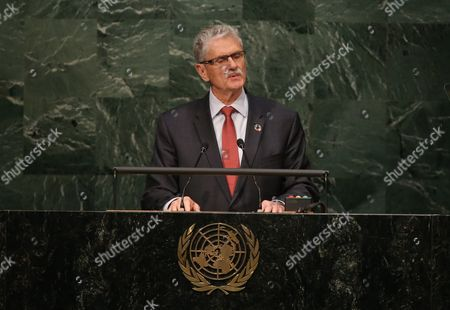 Mogens Lykketoft President of the United Nations General Assembly Speaks During the Opening Ceremony of the High-level Event For the Signature of the Paris Agreement at the United Nations Headquarters in New York New York Usa 22 April 2016 United States New York