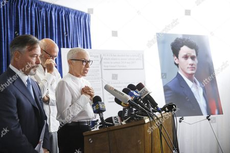 Irina Yelchin (r) Mother of the Late Us Actor Anton Yelchin Joins Husband Victor Yelchin (c) and Attorney Gary Dordick While Announcing Their Wrongful Death Lawsuit Against Fiat Chrysler During a Press Conference in Los Angeles California Usa 02 August 2016 Anton Yelchin Died on 19 June 2016 After His 2015 Jeep Grand Cherokee Crushed Him in His Driveway Due to what the Lawsuit Says was a Design Defect in the Vehicle United States Los Angeles