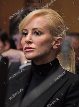 Scottish actress-producer-lawyer Louise Linton, Steven T. Mnuchin's fiancee sits behind him as he appears before the United States Senate Committee on Finance considering his nomination to be Secretary of Energy on Capitol Hill in Washington, DC.