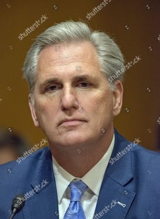 United States House Majority Leader Kevin McCarthy (Republican of California) appears to introduce Steven T. Mnuchin to the US Senate Committee on Finance considering his nomination to be Secretary of the Treasury on Capitol Hill in Washington, DC.