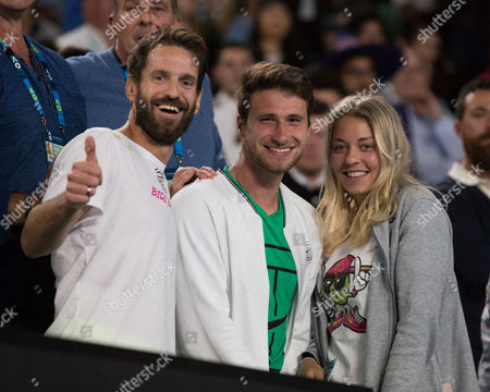 Stock Picture of Mona Barthel's tram - Trainer Christopher Kas, Carina Witthoeft and friend Philipp Lang