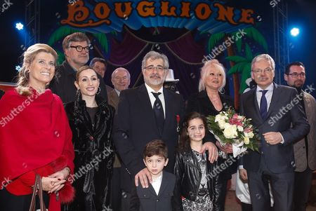 Princess Lea of Belgium (l) Circus Director Alexandre Bouglione (c) with His Wife and Belgian Foreign Minister Didier Reynders (r) Pose For a Family Photograph After Bouglione Received the Officer of the Order of the Crown's Medals in Brussels Belgium 17 December 2014 Belgium Brussels