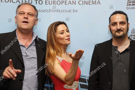 Stock Picture of (l-r) Jury Members French Director Christian Carion Italian Actress Antonella Salvucci and Belgian Director Olivier Masset-depasse Pose at the Opening Ceremony of the 13th Brussels Film Festival at Flagey in Brussels Belgium 05 June 2015 the Festival Runs From 05 to 12 June Belgium Brussels