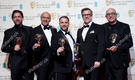 (l-r) Chris Duesterdiek Martin Hernandez Frank a Montano Jon Taylor and Randy Thom Winners of the Sound Award For 'The Revenant' Pose in the Press Room After Winning an Award During the 69th Annual British Academy Film Awards at the Royal Opera House in London Britain 14 February 2016 the Ceremony is Hosted by the British Academy of Film and Television Arts (bafta) United Kingdom London