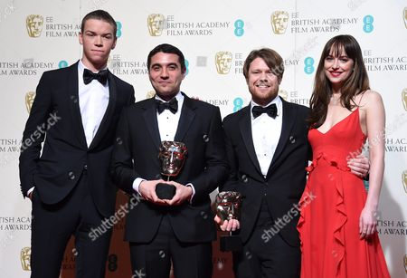 Dakota Johnson (r) and Will Poulter (l) Pose in the Press Room with Naji Abu Nowar (2-l) and Rupert Lloyd (2-l) the Winners of the Outstanding Debut Award For 'Theeb' During the 69th Annual British Academy Film Awards at the Royal Opera House in London Britain 14 February 2016 the Ceremony is Hosted by the British Academy of Film and Television Arts (bafta) United Kingdom London