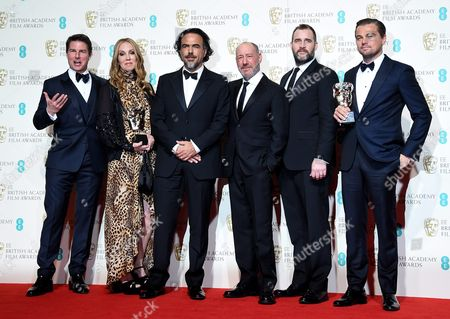 Presenter Tom Cruise (l) Poses with the Winners of the Best Film Award (l-r) Mary Parent Alejandro Inarritu Steve Golin Keith Redmon and Leonardo Dicaprio For 'The Reverent' During the 69th Annual British Academy Film Awards at the Royal Opera House in London Britain 14 February 2016 the Ceremony is Hosted by the British Academy of Film and Television Arts (bafta) United Kingdom London