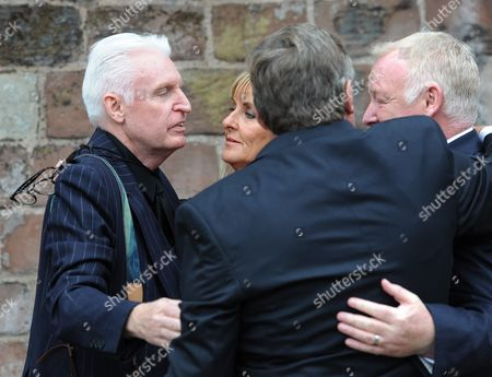 British Comedian Les Dennis (r) Greets British Performing Artist Mike Mcgear (l) As They Attend the Funeral of Cilla Black at St Mary's Church Woolton Liverpool Britain 20 August 2015 Priscilla Maria Veronica White Obe Known by Her Stage Name Cilla Black was an English Singer Actress and Entertainer and Died Aged 72 of a Stroke After a Fall at Her Home in Spain on 01 August 2015 United Kingdom Liverpool