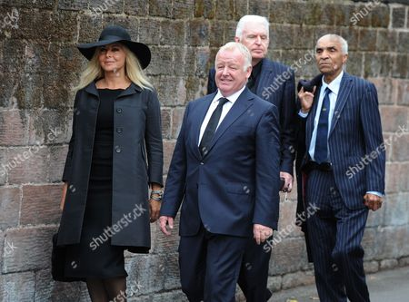 British Media Personality Carol Vorderman (l) British Comedian Les Dennis (c-l) British Singer and Actor Kenny Lynch (r) and British Performing Artist Mike Mcgear (c-r) Attend the Funeral of Cilla Black at St Mary's Church Woolton Liverpool Britain 20 August 2015 Priscilla Maria Veronica White Obe Known by Her Stage Name Cilla Black was an English Singer Actress and Entertainer and Died Aged 72 of a Stroke After a Fall at Her Home in Spain on 01 August 2015 United Kingdom Liverpool